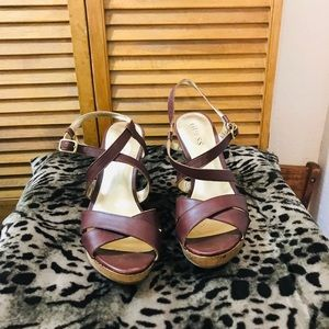 Guess cork leather wedges  sandals size 8M.